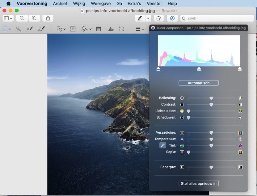 voorvertoning mac - afbeelding kleur optimaliseren