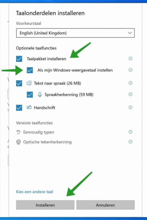 Weergave taal installeren in windows