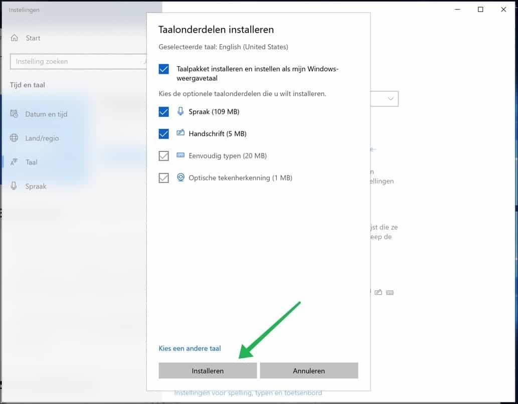 optionele taal onderdelen installeren windows 10