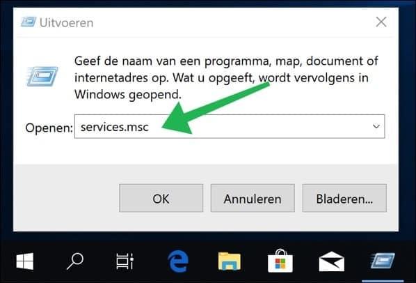 services controleren windows 10