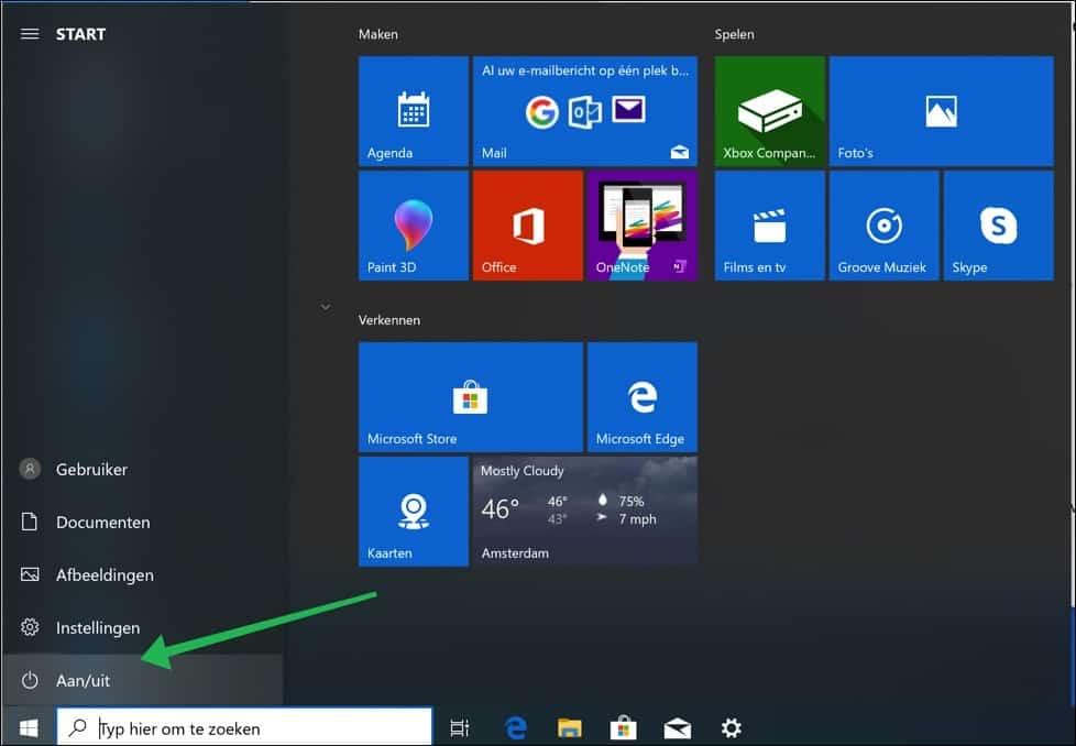 start menu aanpassing windows 10