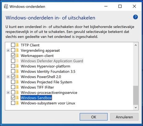 windows sandbox installeren