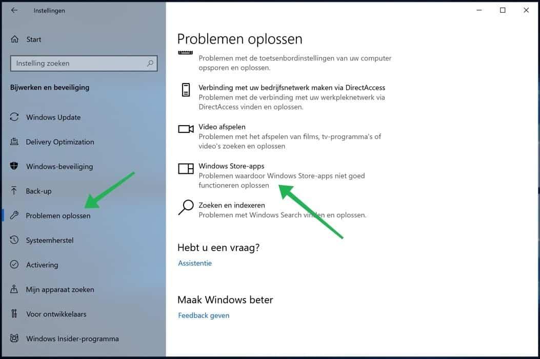 windows store problemen oplossen