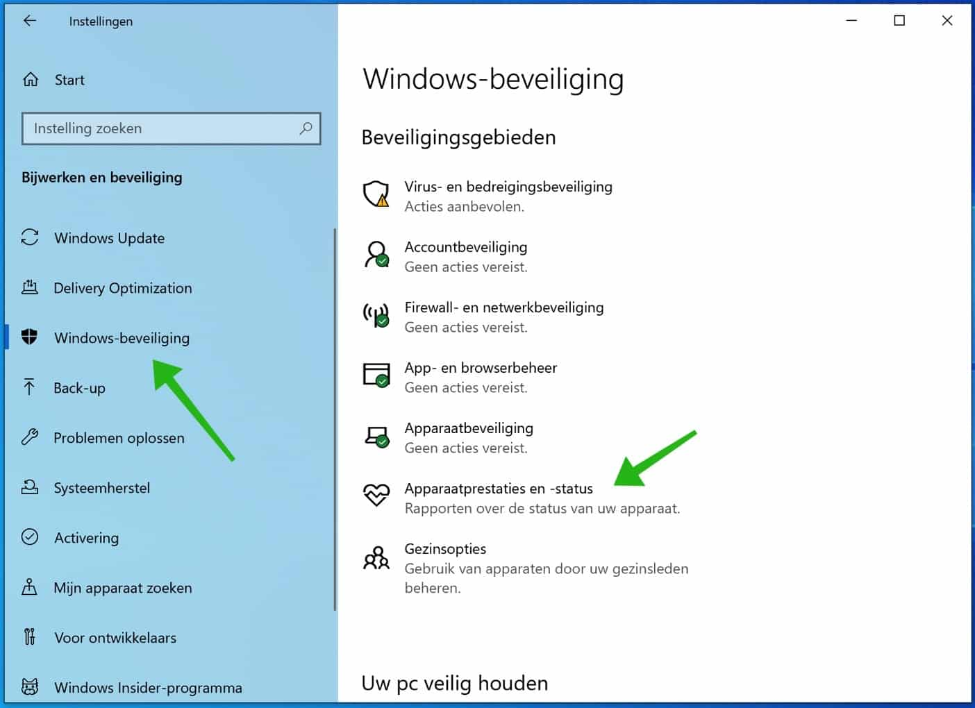 apparaatprestaties en status instellingen windows 10