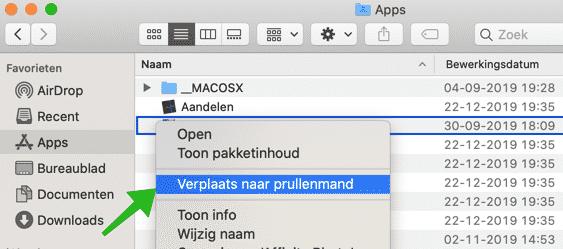 applicatie verwijderen mac osx