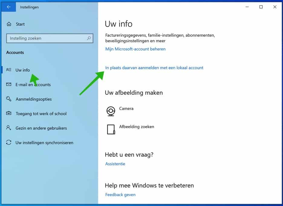 lokaal account windows 10