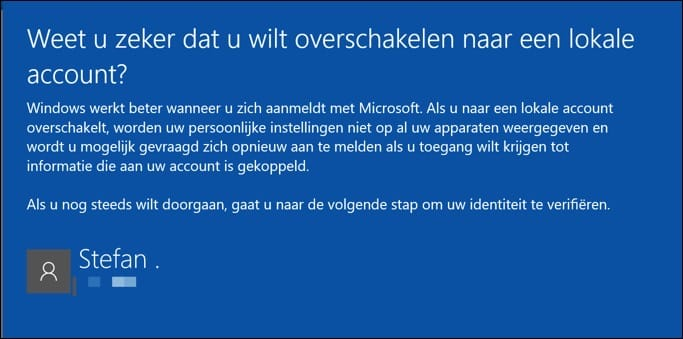 overschakelen naar lokaal account windows 10