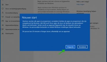 windows 10 nieuwe start informatie