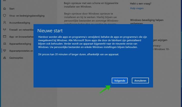windows 10 nieuwe start informatie