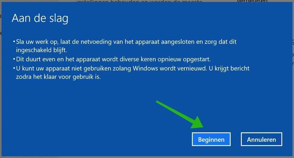 windows 10 nieuwe start maken