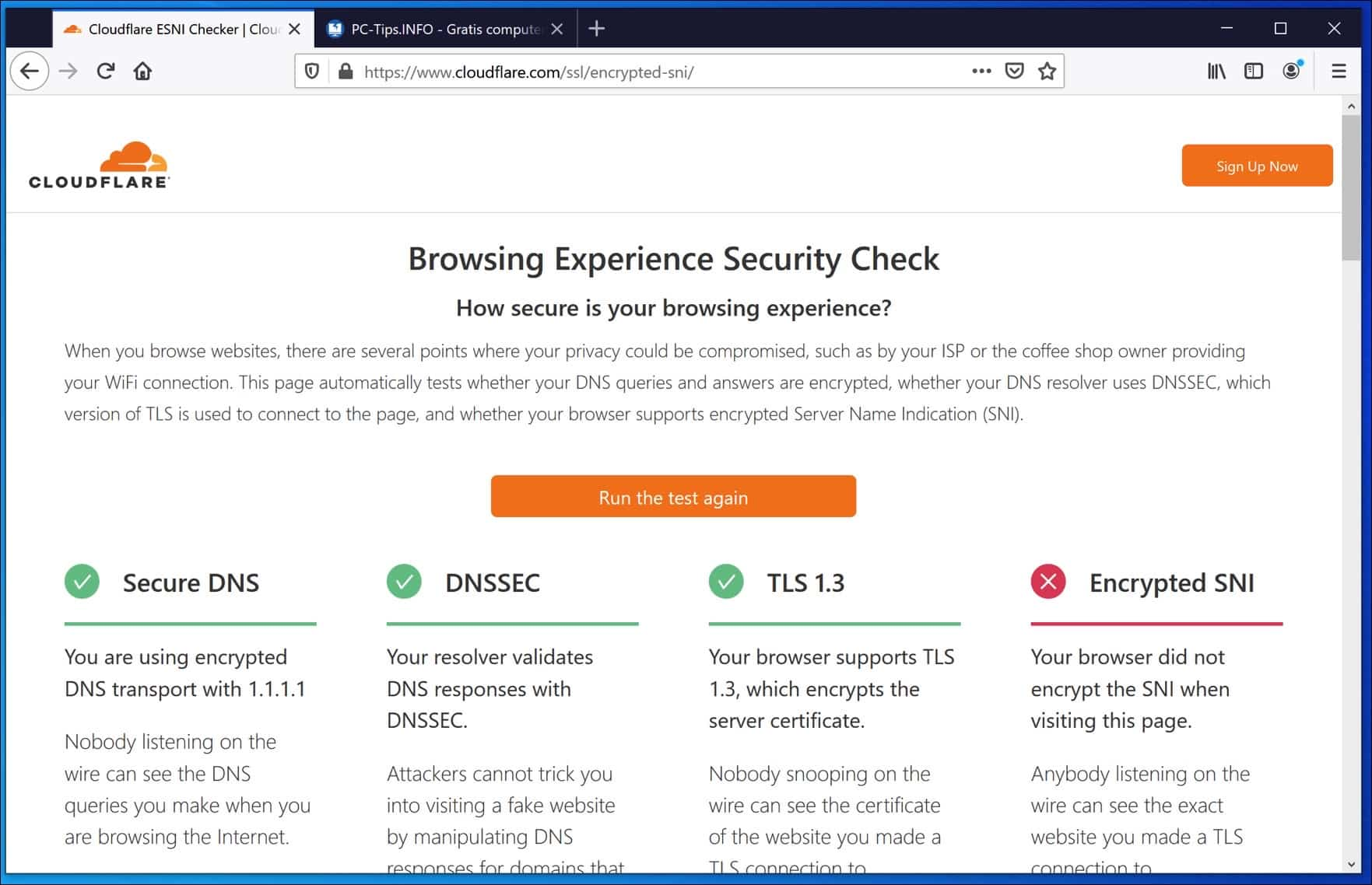 Cloudflare Secure DNS checker