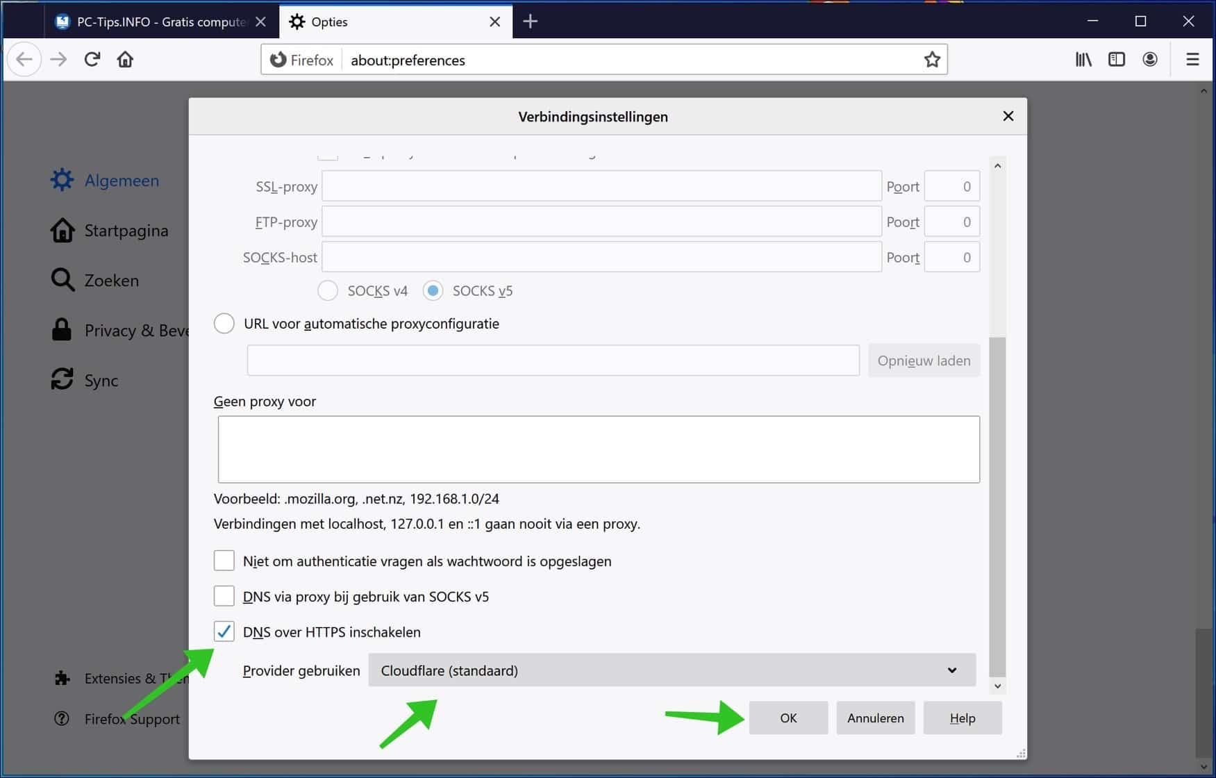 DNS over HTTPS inschakelen Firefox