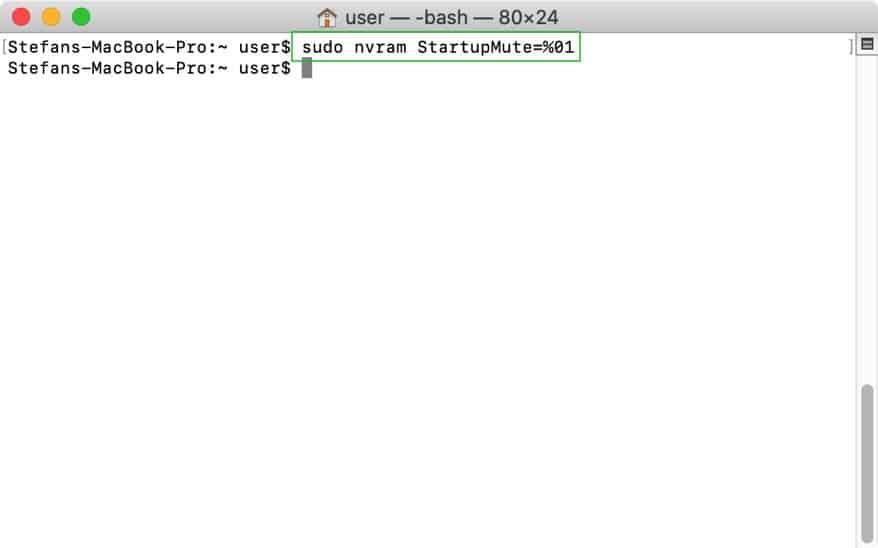 opstart geluid uitzetten mac