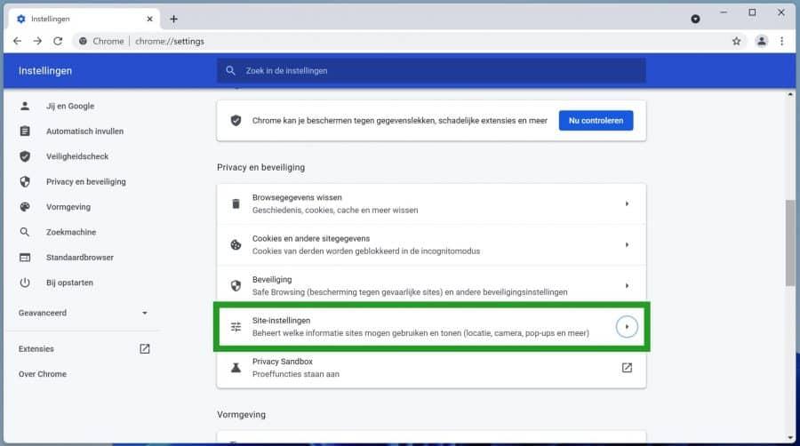 Chrome site-instellingen