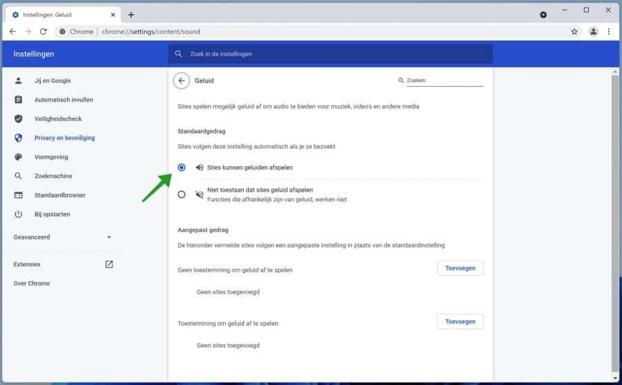 Geen geluid in Google Chrome