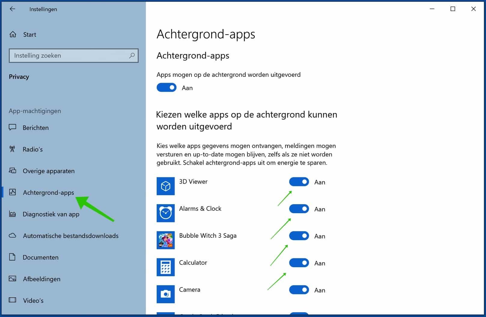 achtergrond applicaties uitschakelen windows 10