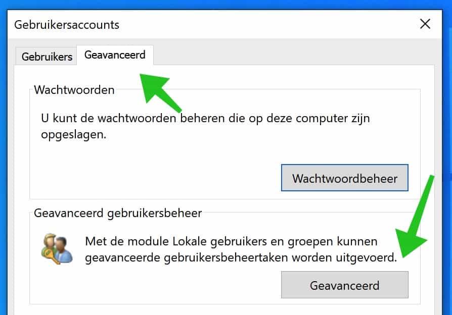 geavanceerd gebruikersbeheer windows 10