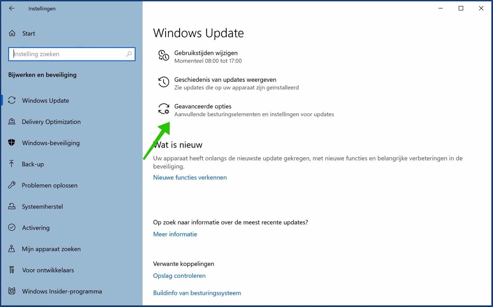 geavanceerde windows update instellingen