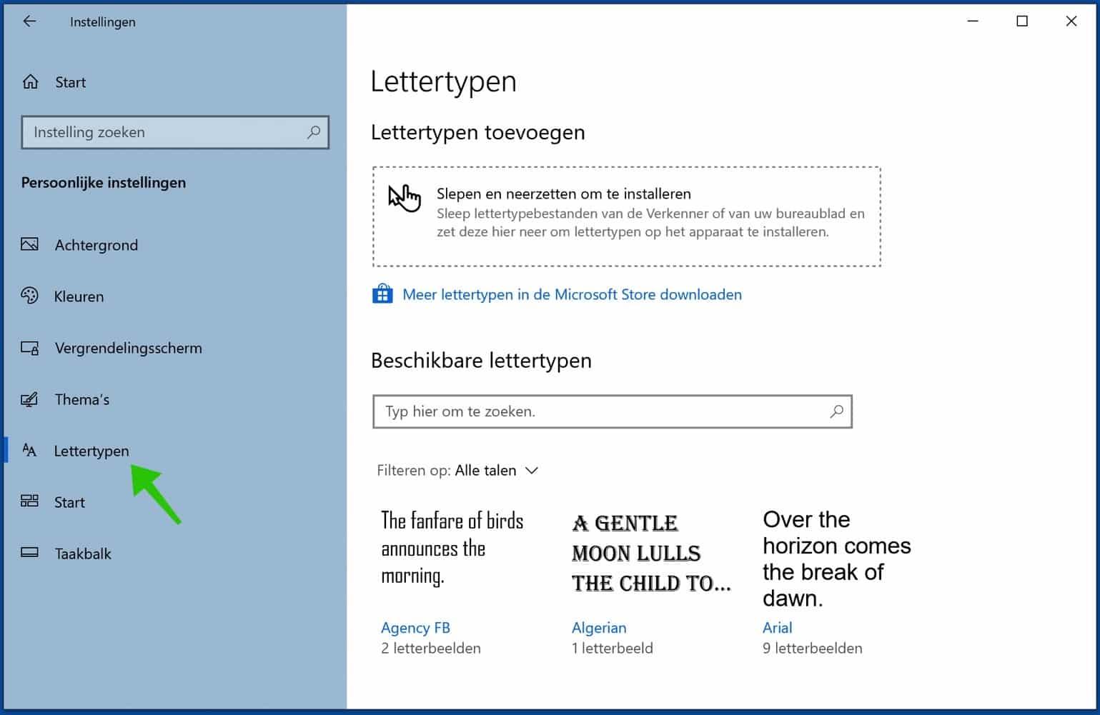 lettertype instellingen windows