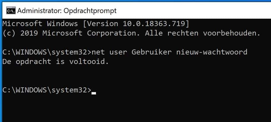 nieuw wachtwoord instellen via command prompt