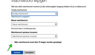 wijzig wachtwoord elke 72 dagen windows