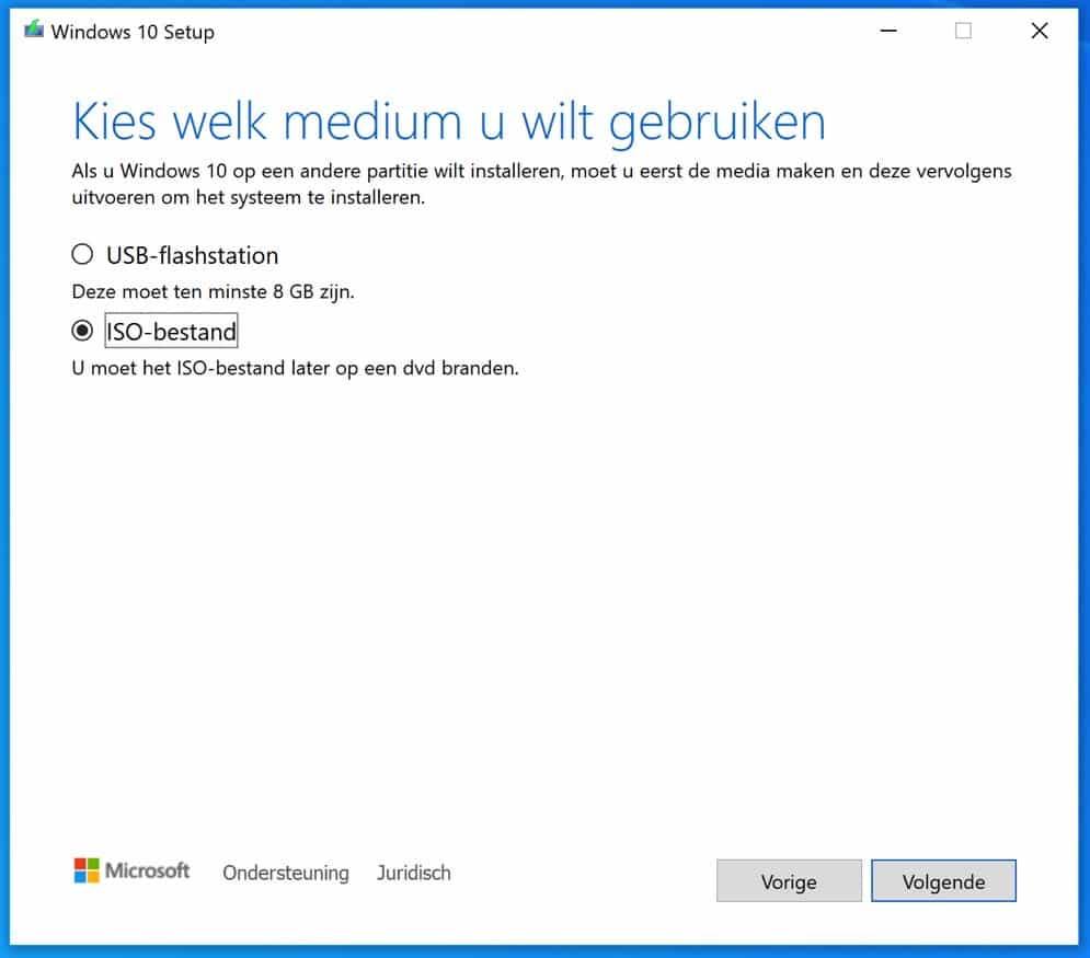 windows 10 installatie media aanmaken