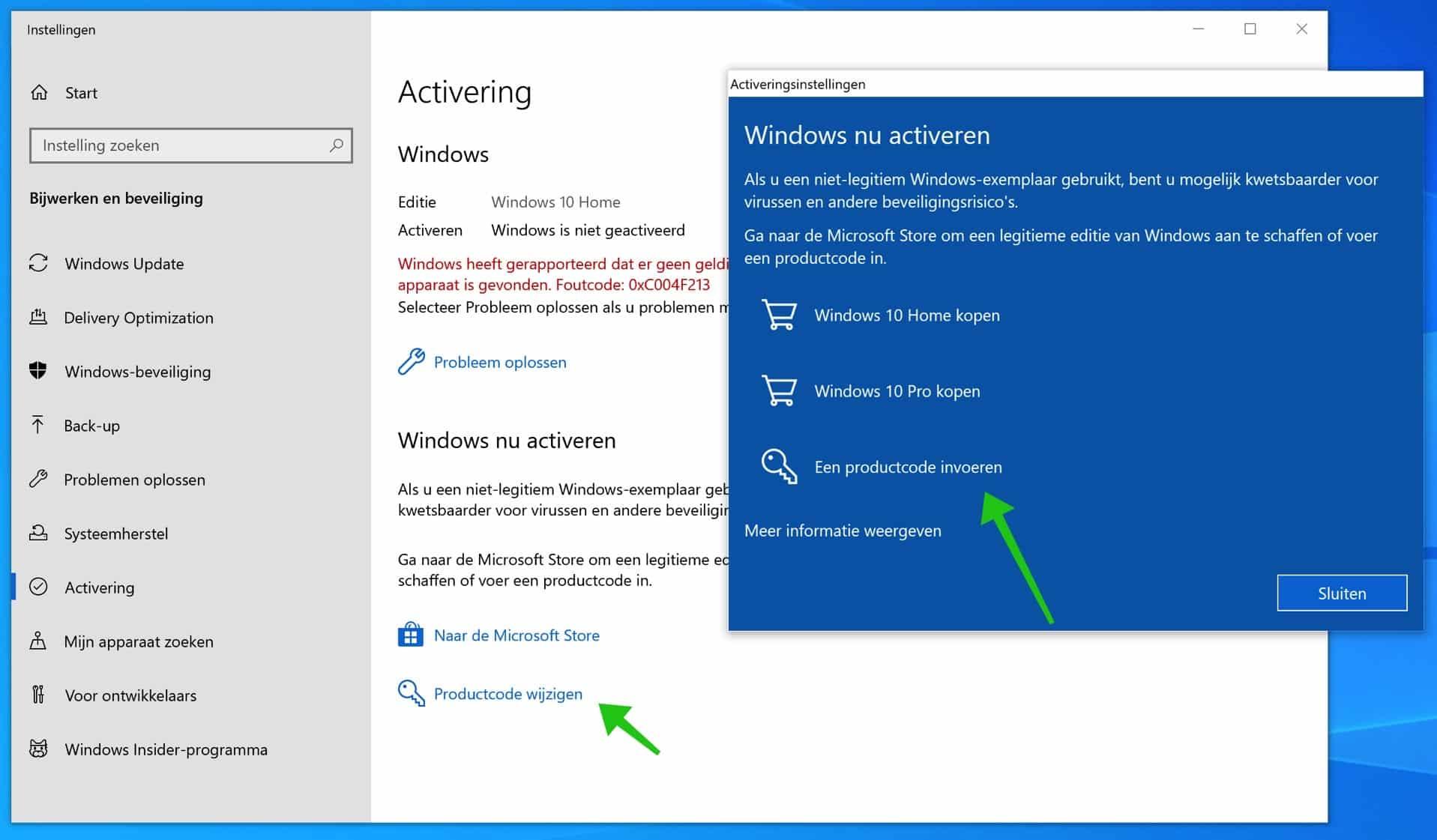 windows 10 productcode wijzigen