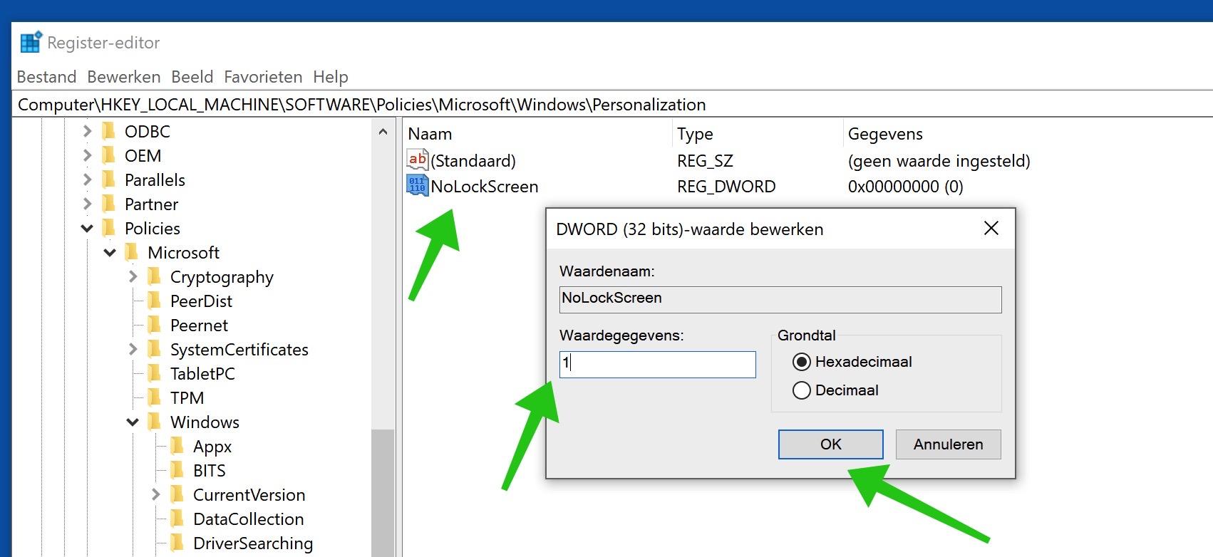 NoLockScreen waarde aanmaken register