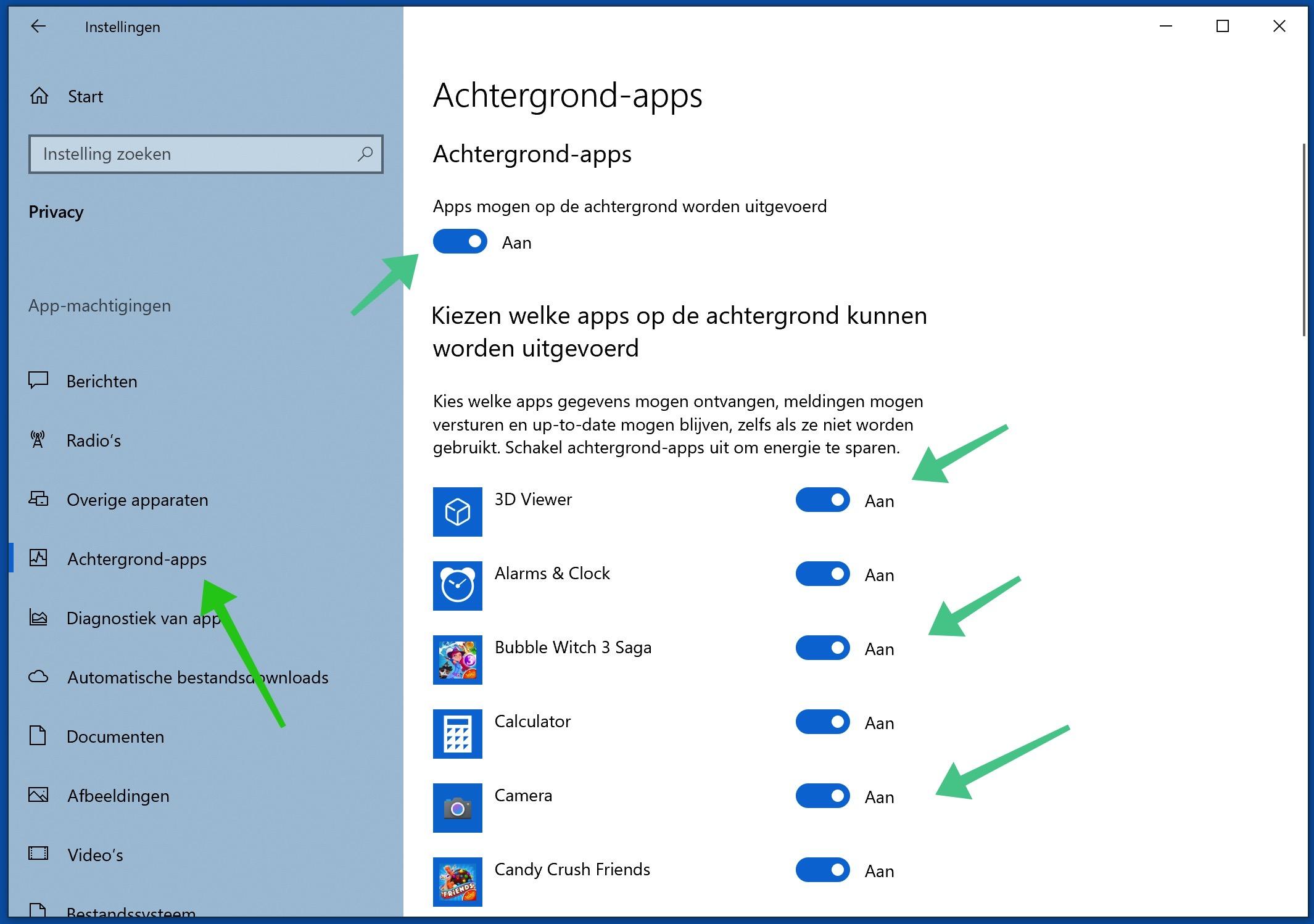 achtergrond applicaties uitschakelen windows 10