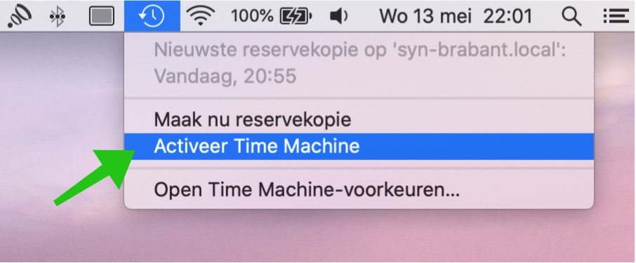 activeer time machine