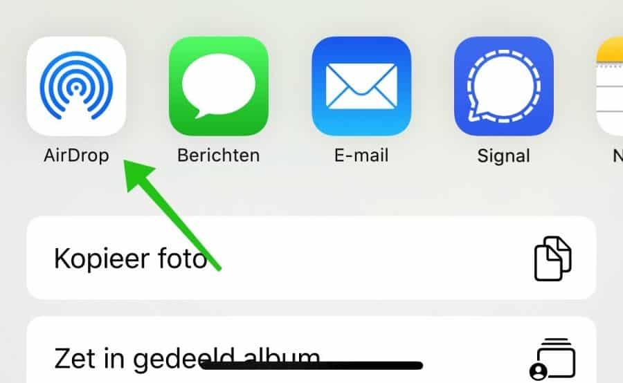 airdrop bestand delen iphone ipad