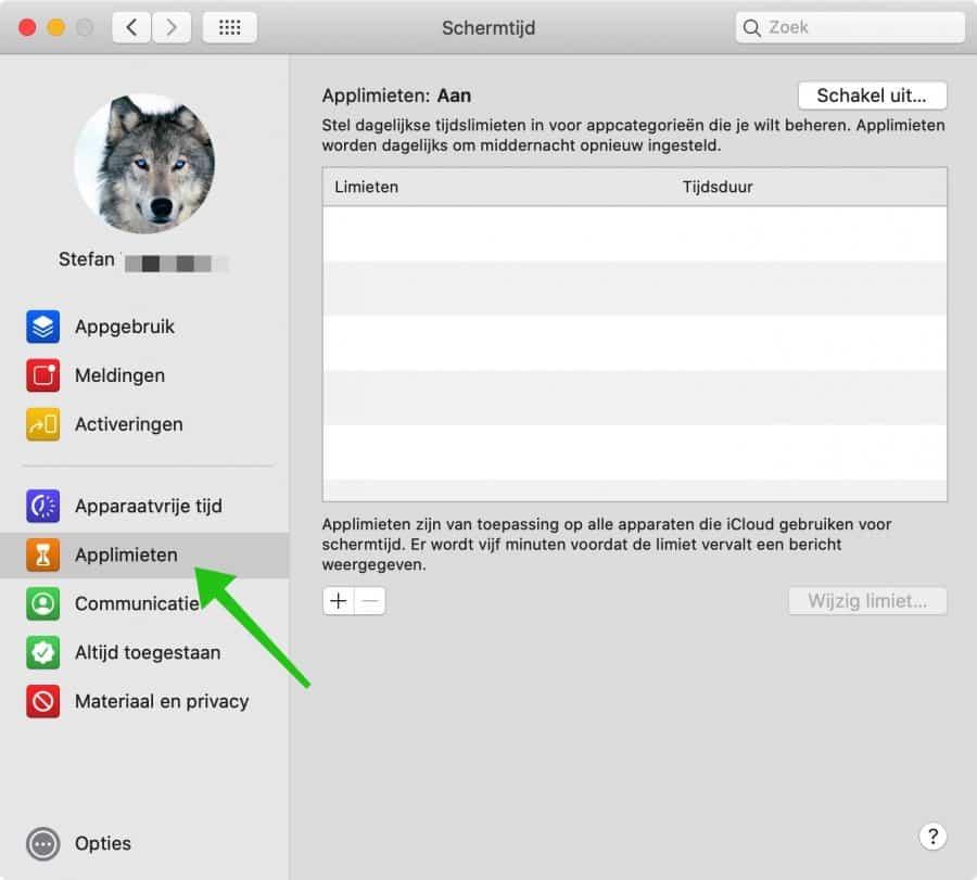 applimieten schermtijd mac