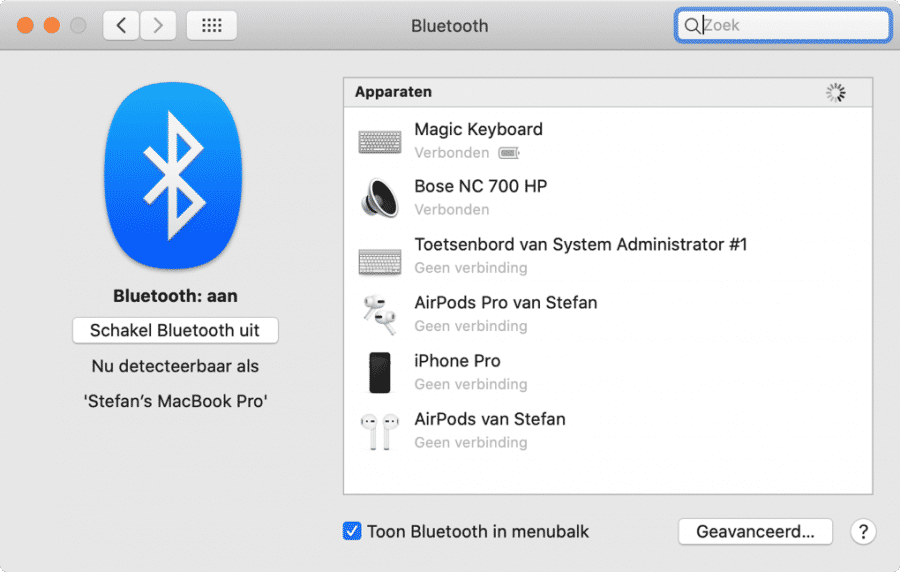 bluetooth apparaten verbonden mac