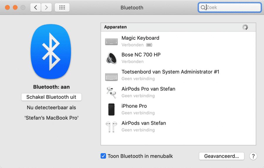 bluetooth apparaten verbonden mac
