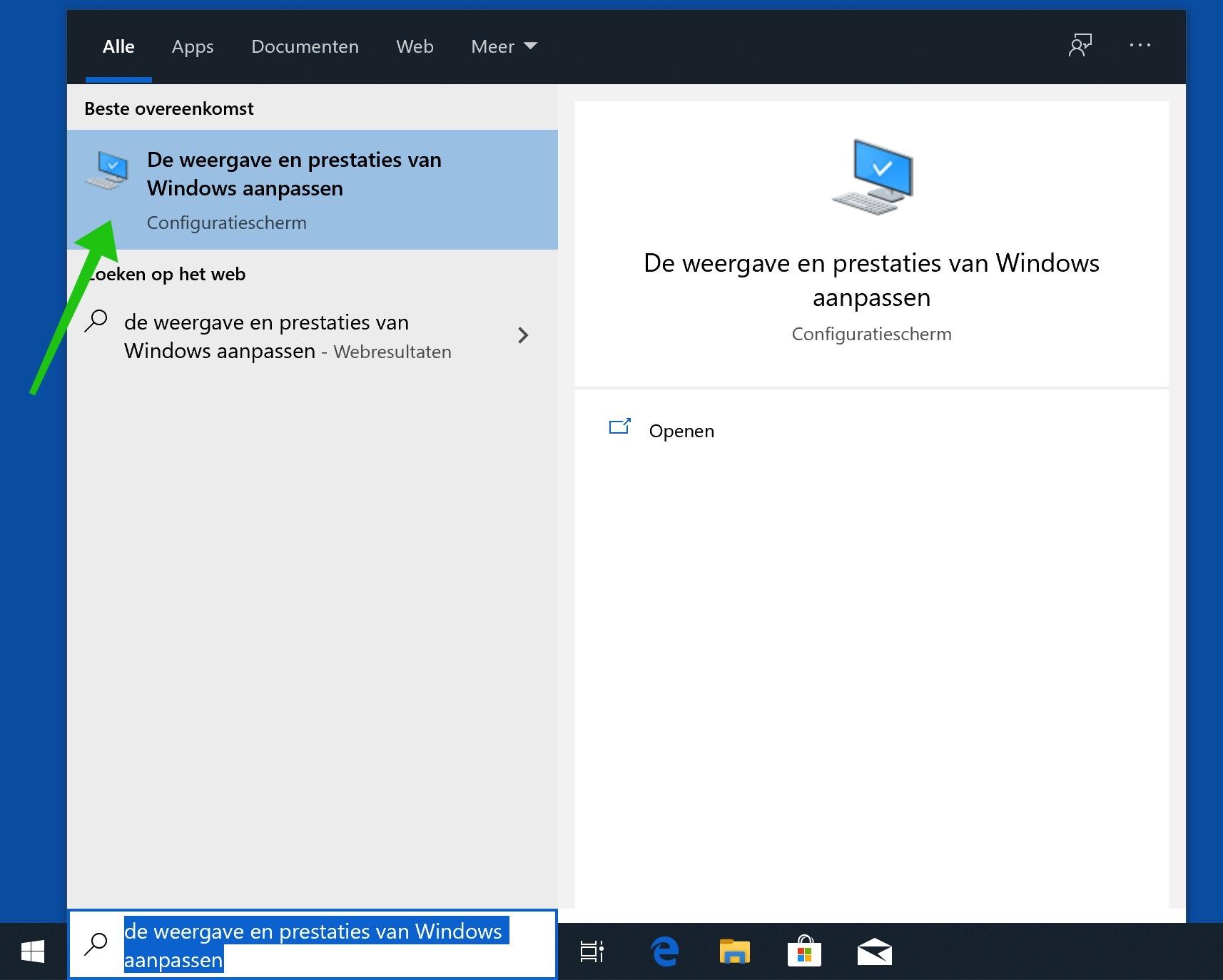 de weergave en prestaties van Windows aanpassen