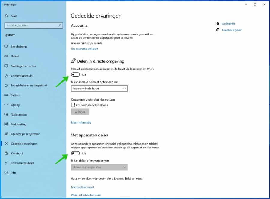 delen uitschakelen in windows 10