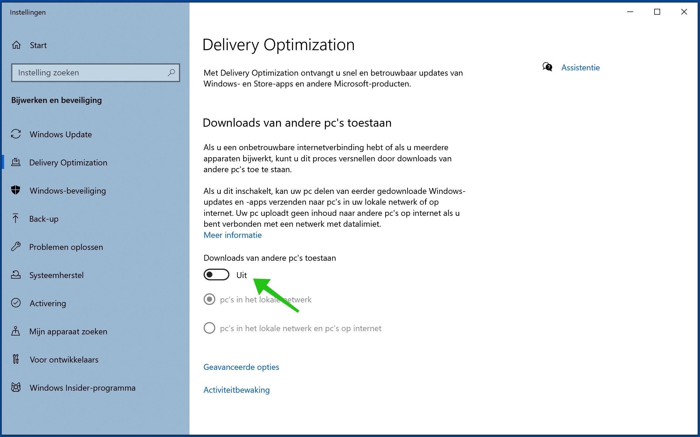 downloads van andere pc uitschakelen windows 10