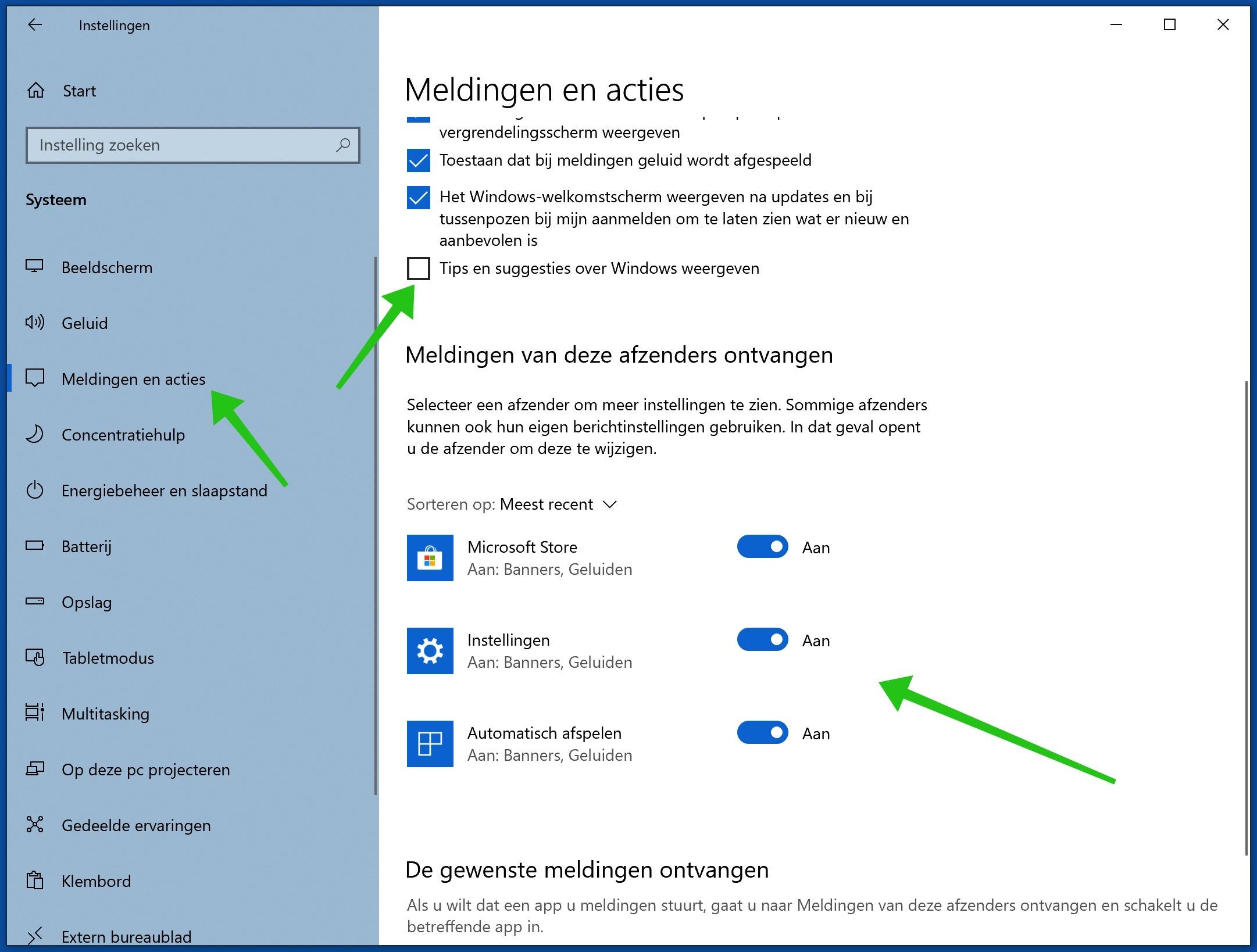 meldingen en notificaties uitschakelen in windows