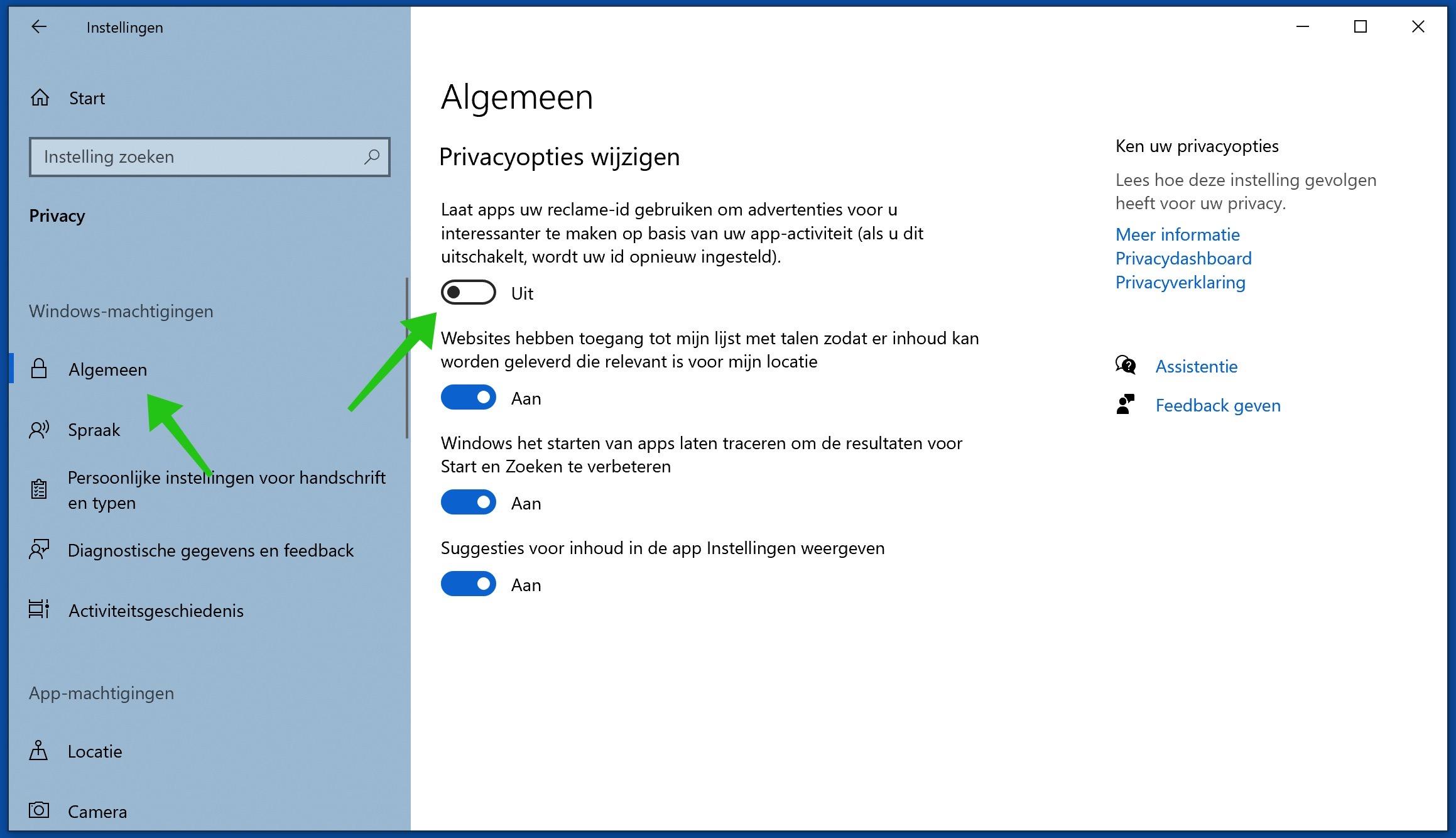 privacy opties wijzigen windows 10