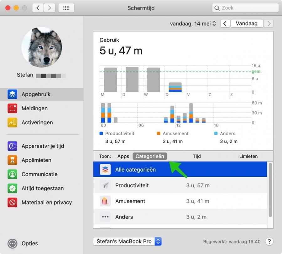 schermtijd categorieen mac