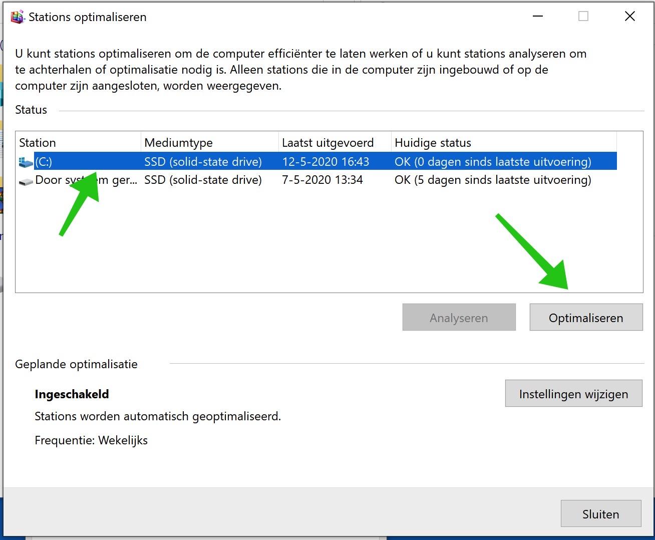 schijf optimaliseren windows 10