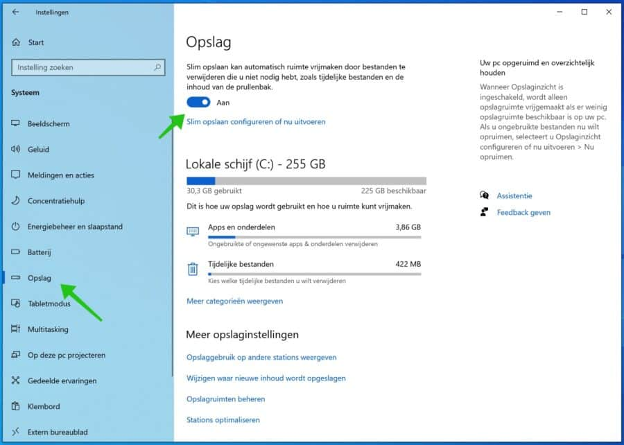 slimme opslag windows 10