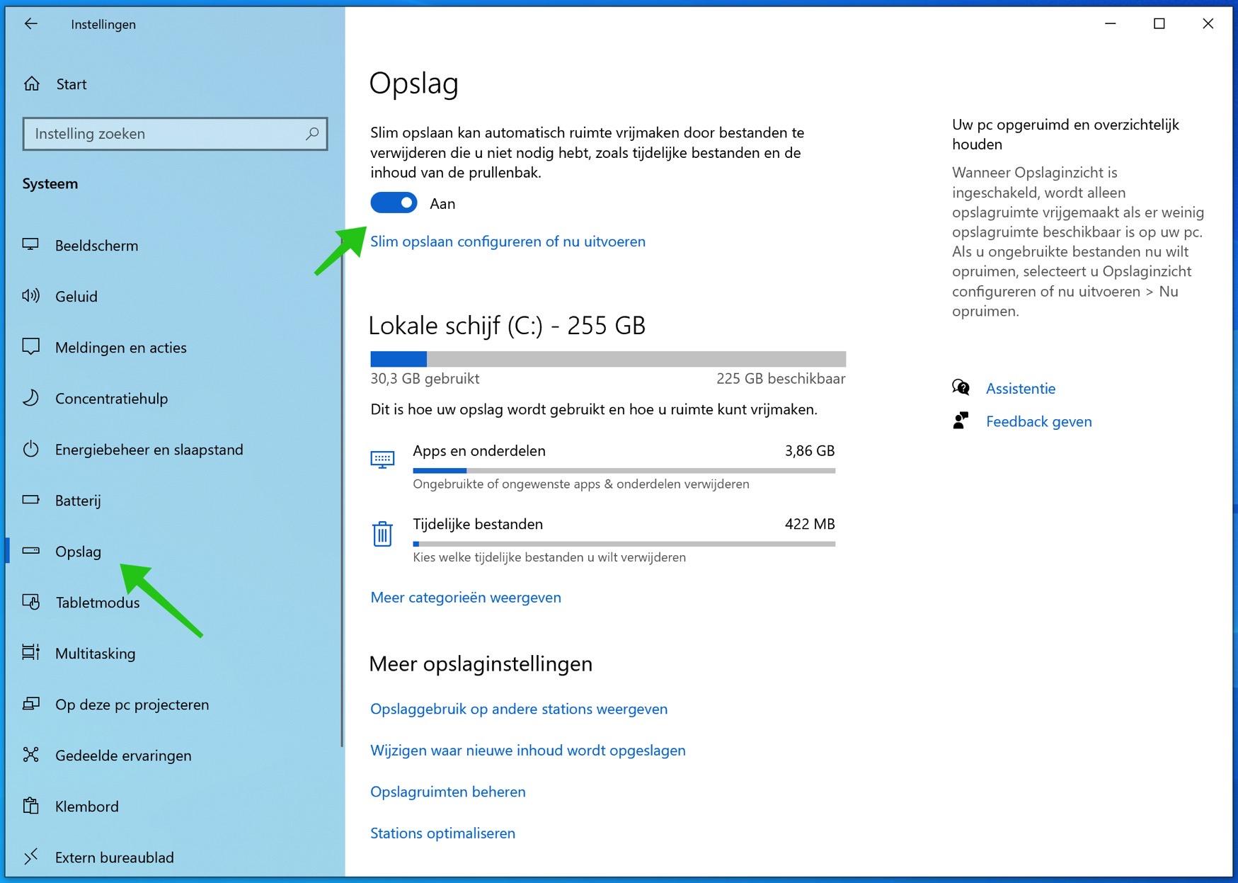 slimme opslag windows 10