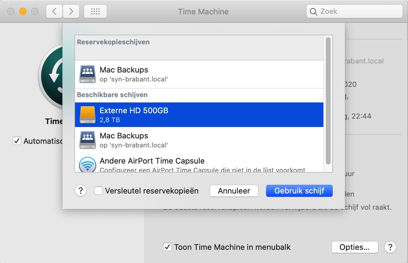 time machine backup instellen