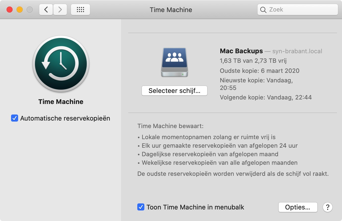 time machine instellingen mac osx
