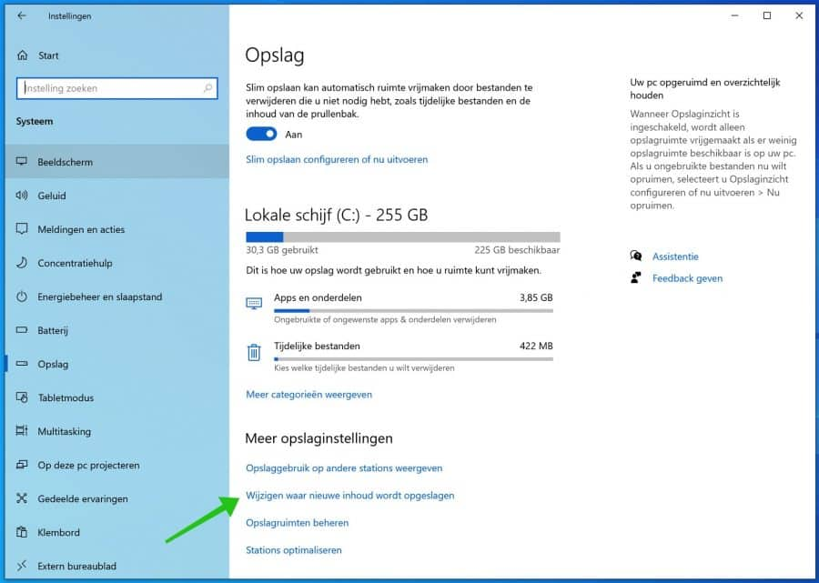 wijzigen waar nieuwe inhoudt wordt opgeslagen windows 10