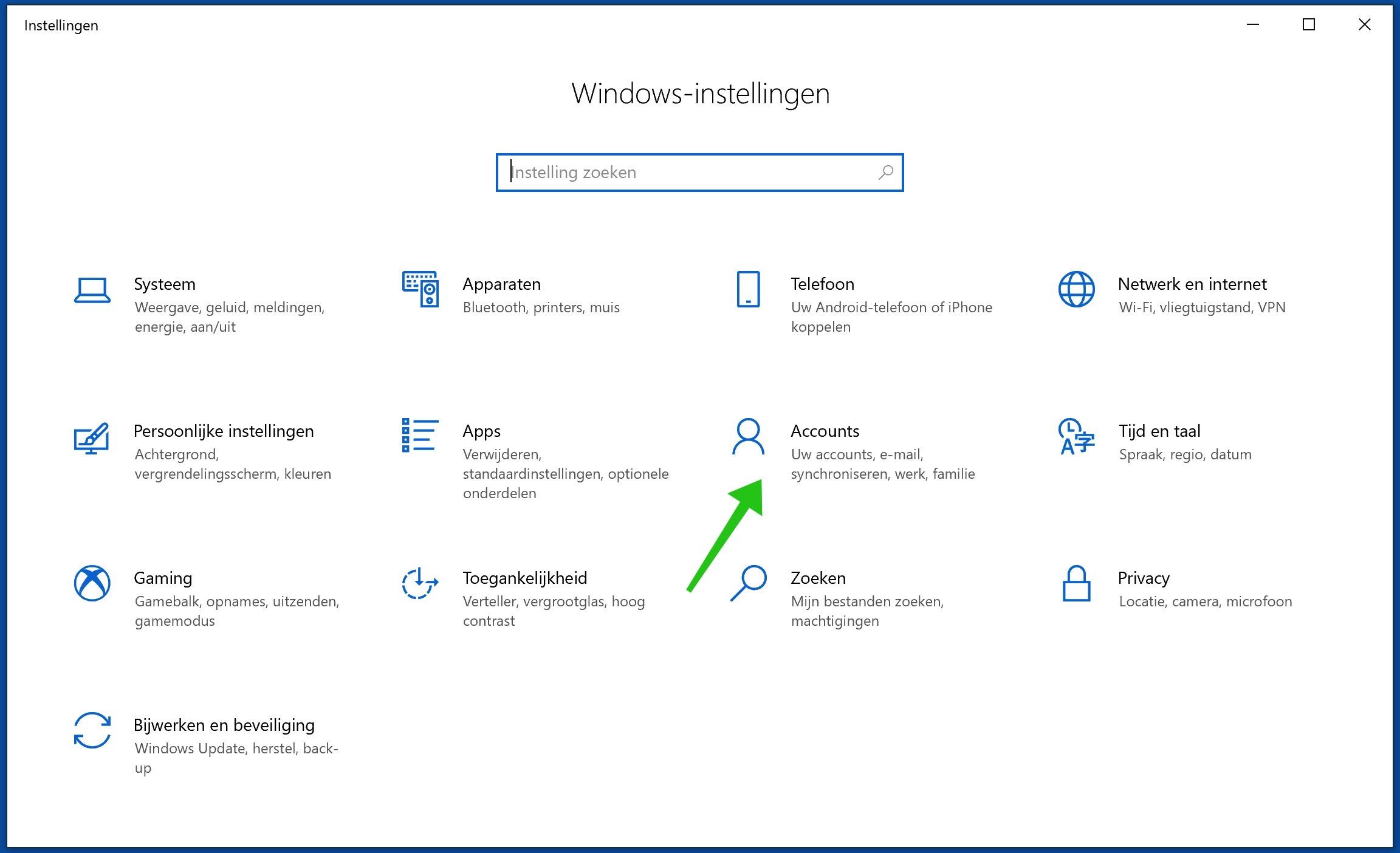 windows 10 accounts instellingen