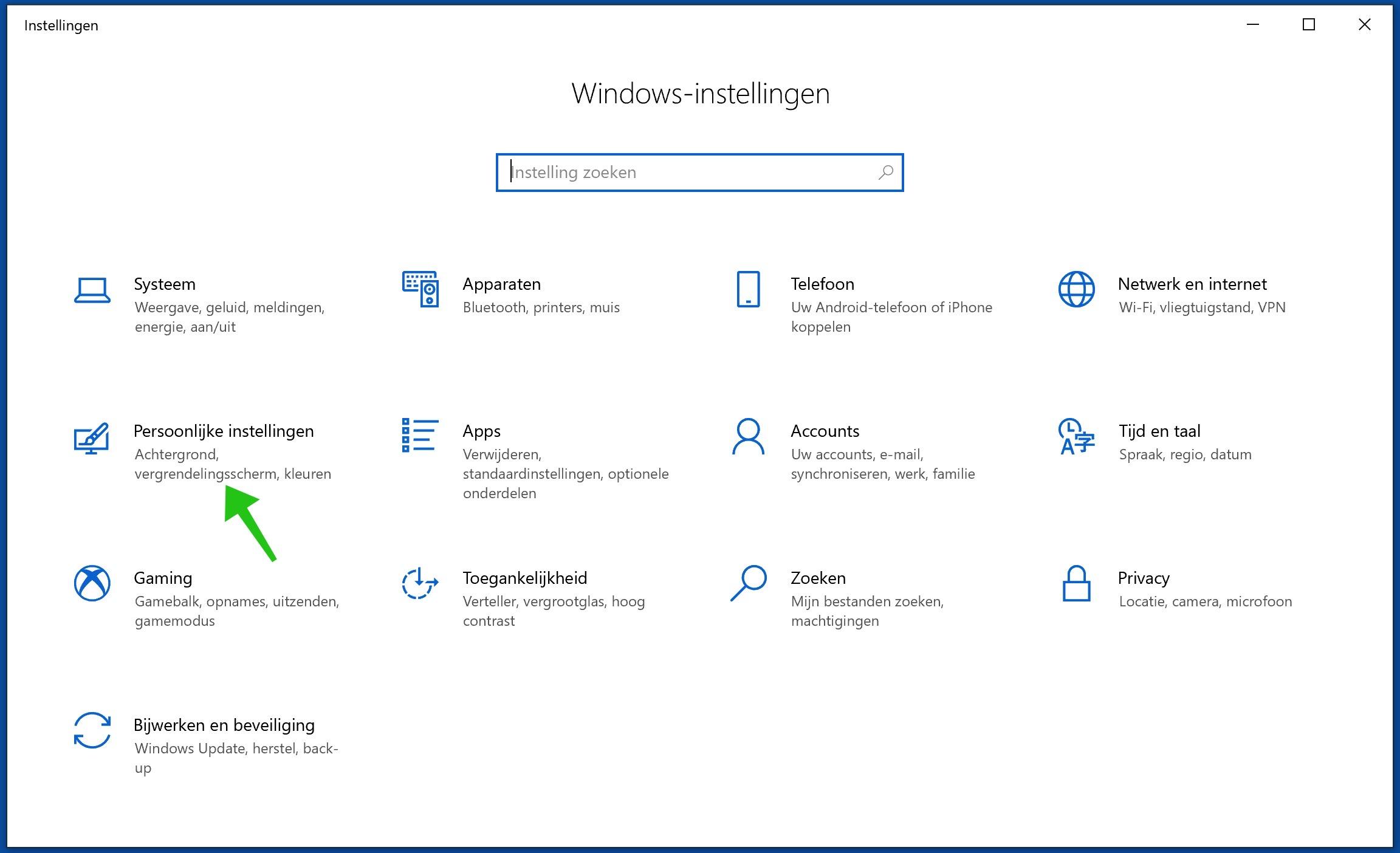 windows 10 instellingen
