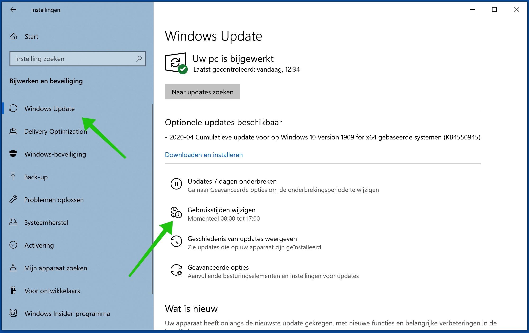 windows update gebruikerstijden wijzigen