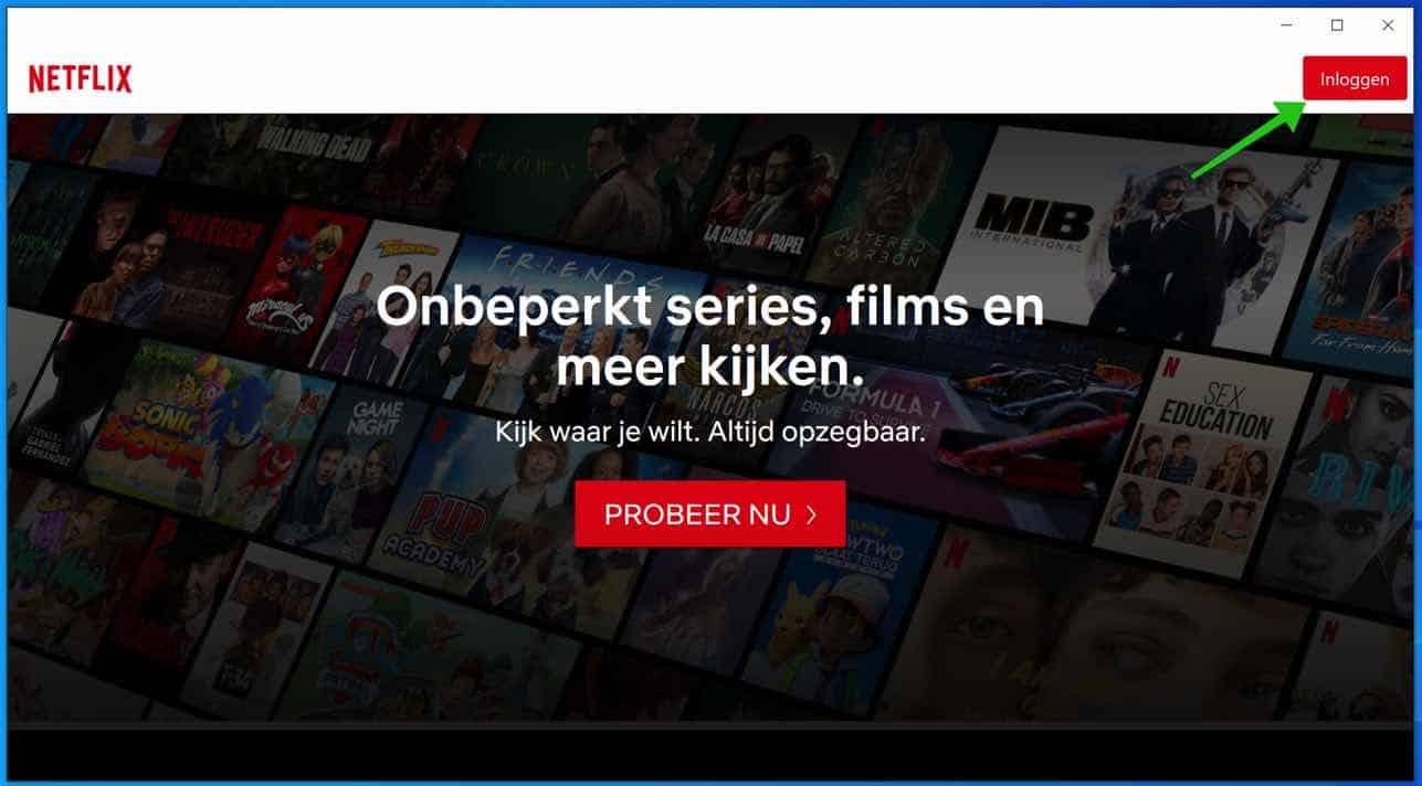 Netflix applicatie windows 10